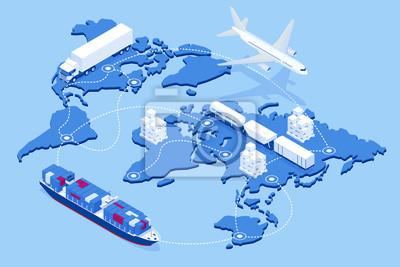 Posters Global logistics network Flat 3d isometric vector illustration Icons set of air cargo trucking rail transportation maritime shipping On-time delivery Vehicles designed to carry large numbers of cargo