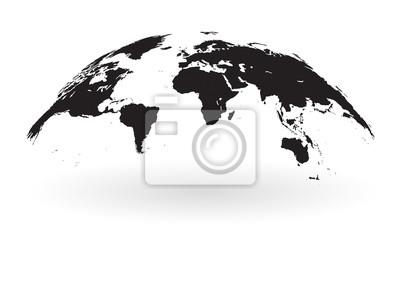 Carte Du Monde Noir Et Blanc.Posters Globe De Carte Du Monde Noir Isole Sur Fond Blanc