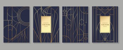 Posters Gold and Luxury Invitation card design vector. Abstract geometry frame and Art deco pattern background. Use for wedding invitation, cover, VIP card, print, poster and wallpaper. Vector illustration.