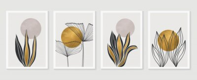 Posters Gold Botanical wall art vector set. Earth tone boho foliage line art drawing with  abstract shape.  Abstract Plant Art design for print, cover, wallpaper, Minimal and  natural wall art.