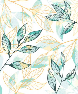 Posters Golden and green leaves pattern. Hand drawn vector background