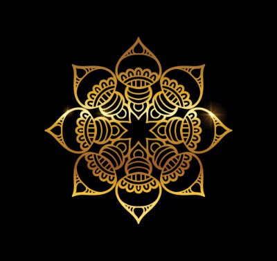 Posters Golden Mandala with Gold Shine Effect