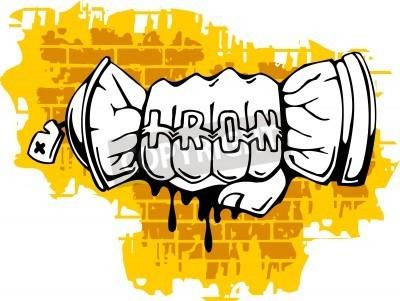 Posters Graffiti - fin Fist pulvérisation ballon.Vector Illustration. Vinyl-Ready.
