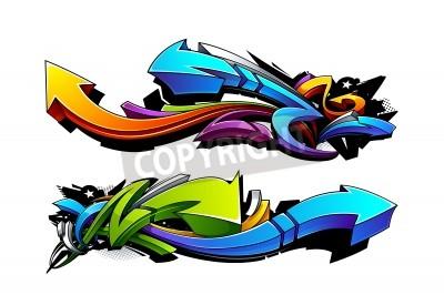Posters Graffiti flèches dessins. Vector illustration.