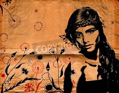 Posters graffiti illustration de mode d'une belle femme aux cheveux longs sur la texture du papier avec effet grunge