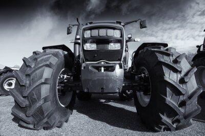 Posters Grand, agricole, tracteur, sous, orageux, ciel