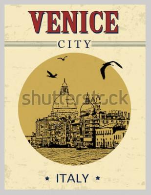 Posters Grand canal et basilique Santa Maria della Salute, Venise, Italie en affiche de style vintage, illustration vectorielle