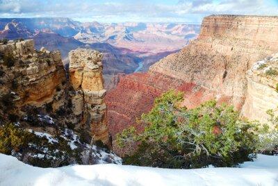 Grand Canyon vue panoramique en hiver avec de la neige