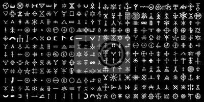 Posters Grand ensemble de symboles alchimiques sur le thème du vieux manuscrit avec alphabet et symboles de paroles occultes. Signes écrits ésotériques inspirés d'écrits médiévaux. Vecteur