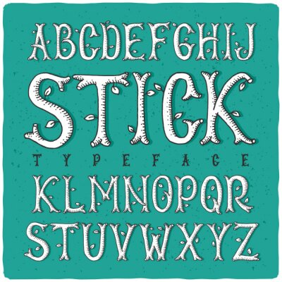 Posters Graphique type de main faite de baguettes en bois stylisés. Blanc sur fond vert.