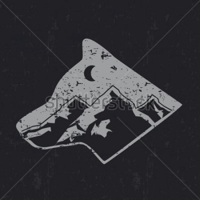 Posters Gray wolf typography design, t-shirt graphics.