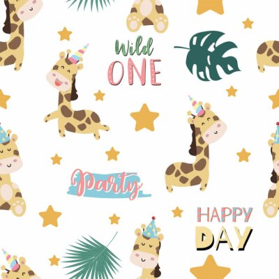 Posters Green pastel seamless pattern with  giraffe smiling,horn,star. Wording are wild one,party and happy day