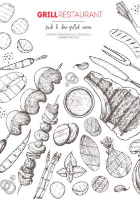 Posters Grilled meat and vegetables top view frame. Vector illustration. Engraved design. Hand drawn illustration. Grill restaurant menu design template. Food on the grill.