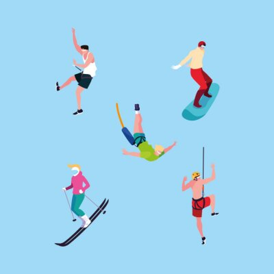 group of people practicing sports extreme