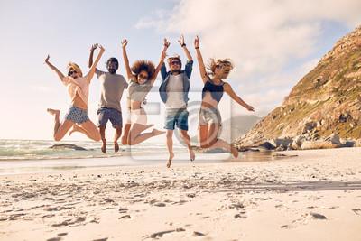 Posters Groupe, amis, plage, avoir, amusement