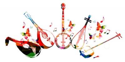 Posters Groupe d'instruments de musique avec des papillons