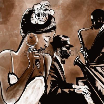 Posters Groupe de jazz avec chanteur, saxophone et piano - illustration vectorielle