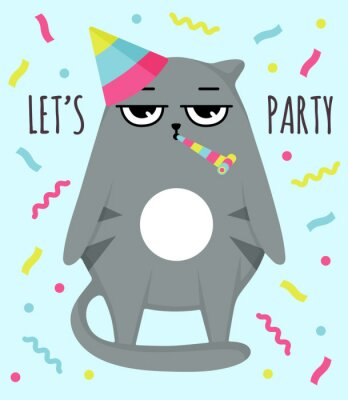 Posters Grumpy cat invitation card. Let party. Cat in cap. Party atribution. congratulatory postcards