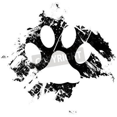 Posters Grunge chat ou empreinte de patte. Peut être utilisé comme un fond ou comme un élément de design mineur.