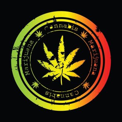 Grunge timbre avec feuille de marijuana