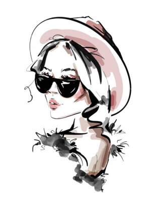 Posters Hand drawn beautiful young woman in sunglasses. Stylish elegant girl. Fashion woman look. Sketch. Vector illustration.