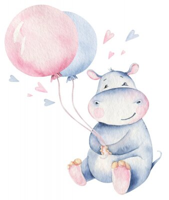 Posters Hand drawn cute isolated tropical summer watercolor hippo animals. hippopotamus baby and mother cartoon animal illustrations, jungle tree, brazil trendy design. Aloha collection.