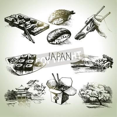 Posters Hand drawn ensemble japonaise millésime
