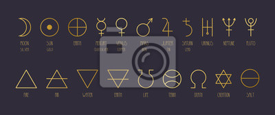Posters Hand-drawn vector set of alchemical symbols in golden gradient.