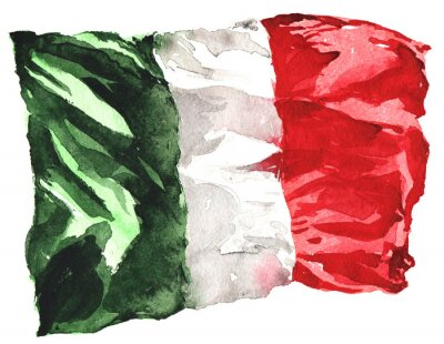 Posters hand-drawn watercolor flag of Italy - a realistic , fluttering i