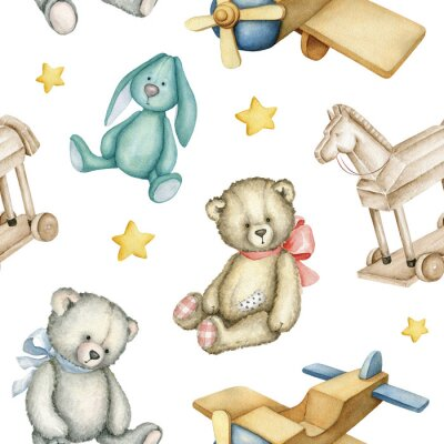 Posters Hand drawn watercolor seamless pattern with old-fashioned toys. Teddy Bears. Bunny toy. Airplane. Rocking horse. Watercolor Illustration on white background.