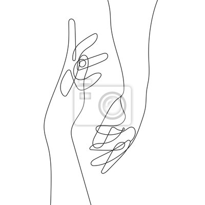 Posters Hand Gesture Continuous Line Drawing. Couple Minimalist Contour Illustration. One Line Hands Concept. Vector EPS 10.