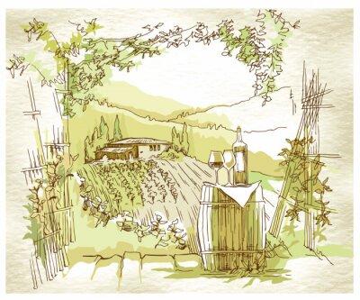 Posters Hand made champs et des vignes de raisin esquisse.