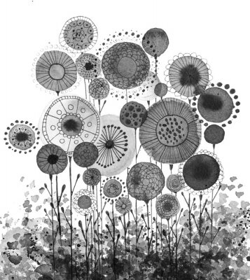 Posters Hand made ink drawings with floral motifs resembling dandelions, black and white
