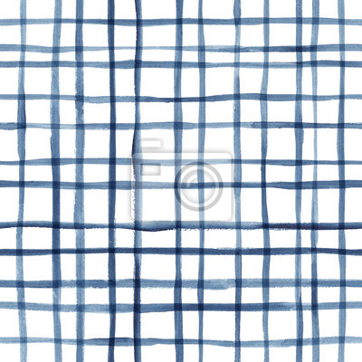 Posters Hand painted indigo grid background. Seamless watercolor pattern