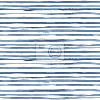 Posters Hand painted striped indigo background. Seamless vector pattern