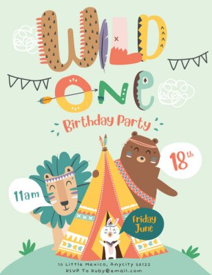 Posters Happy birthday party invitation card with cartoon tribal animals. Vector illustration - Vector