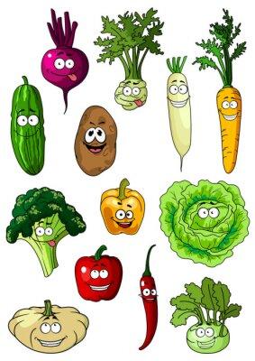 Posters Happy smiling fresh garden vegetables