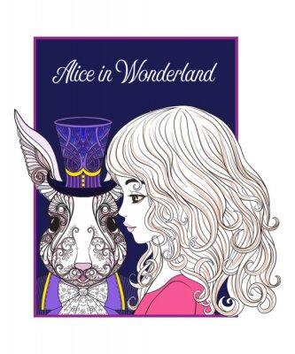 Posters Hare ou lapin dans le chapeau du conte de fées Alice in Wonderla
