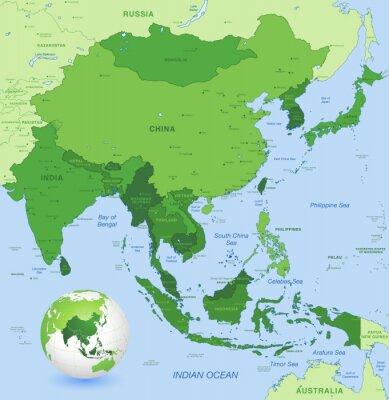 Posters Haute détail vecteur carte de l'Asie Extrême-Orient