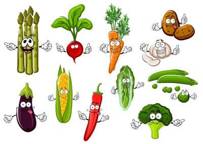 Posters Heureux, ferme, légumes, personnages