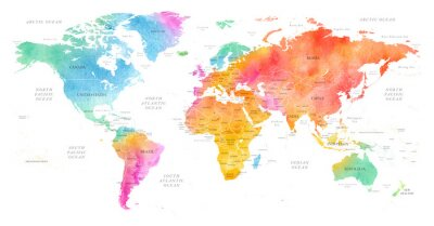 Posters High detailed Multicolor Watercolor World Map Illustration with borders, oceans and countries on white Background, Side View.