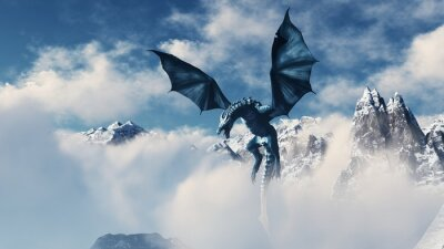 Posters High resolution Ice dragon 3D rendered. Write your text and use it as poster, header, banner or etc.