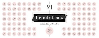 Posters Highlight covers backgrounds. Set of beauty icons.