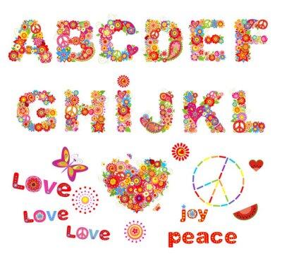 Posters Hippie alphabet floral avec des fleurs colorées drôles. Partie 1