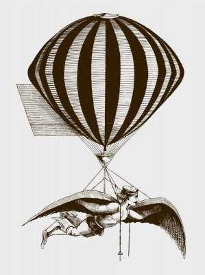 Posters Historic aerialist wearing wings while suspended from a balloon. Illustration after a woodcut from the 19th century. Editable in layers