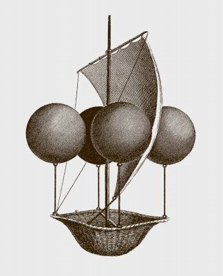 Posters Historic flying ship, an aeronautic machine by Francesco Lana Terzi from 1670. lllustration after an engraving from the early 19th century. Editable in layers