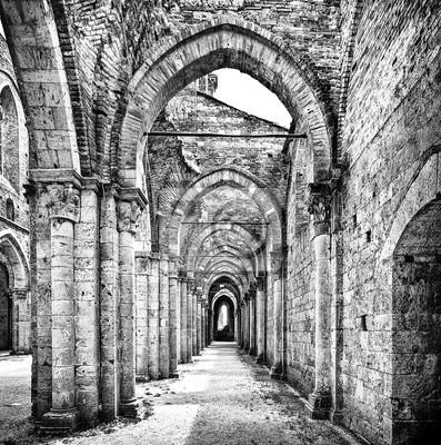 Posters Historique, ruines, abandonné, abbaye, noir, blanc