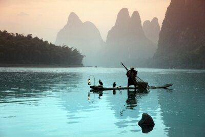 Posters Homme de pêche chinois avec des oiseaux cormorans