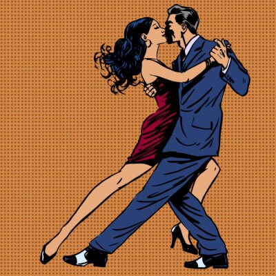 Posters homme et la femme baiser danser le tango pop art