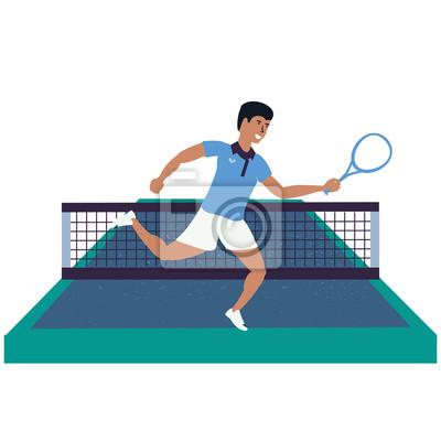 Homme jouant au tennis sur un terrain de sport